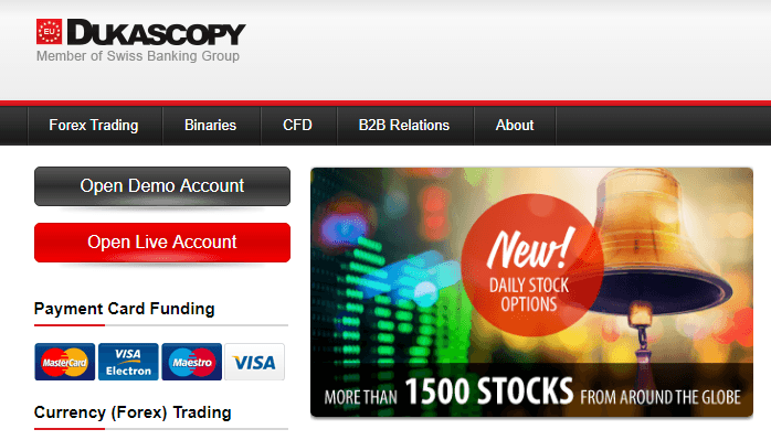 Trading con Dukascopy Europe